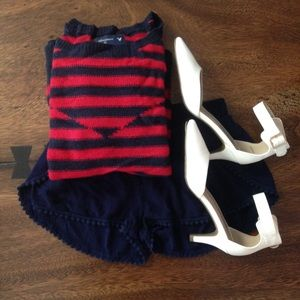 NWOT AE Navy Red Striped Thick Fall Winter Sweater